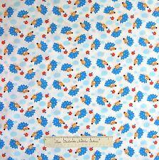 Nursery Baby Fabric - Blue Hedgehog Mushroom Toss White - Timeless Treasures /Yd