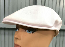 Kangol White Mens Stretch Flatcap Driving Golf Cap Hat 59cm