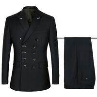 Black Double-Breasted Men Suits Wedding Prom Dinner 2 Pcs Groomsmen Blazer Pants