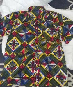 MEN'S Short Sleeved Shirt- African Waxprint HITARGET Cotton Fabric , Approx Med