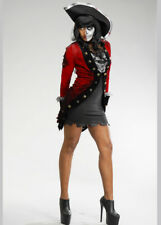 Womens Halloween Zombie Pirate Captain Adult Fancy Dress Costume Black & Red