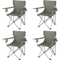 4Pc Fishing Camp Chair Seat Cup Holder Beach Picnic Outdoor Portable Folding Bag