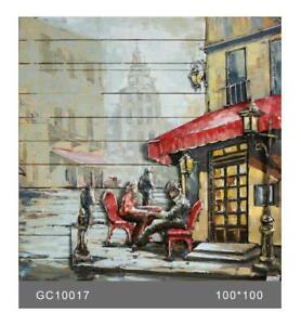French Cafe 3-D Hand Made Wall Mount Oil Painting Artwork Home Decor Metal Paint