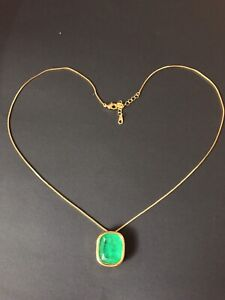 ANGELINA JOLIE 100% NATURAL EMERALD NECKLACE PENDANT 14K GOLD 925 SS HOLLYWOOD