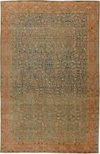 Antique T a b r i z Rust, Beige & Gray-Blue Handwoven Wool Carpet BB5737