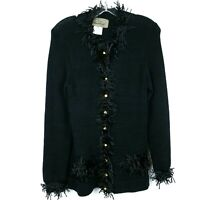 PEPA POMBO Button Front Cardigan Sweater w/ Fringe  Gold Buttons Women's Size M