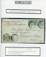 GIBRALTAR 1912 American Consular Service cover to USA from 'Gibraltar Spain'