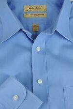 Roundtree & Yorke Hombre Azul Detalle Vestido Camisero de Algodón 17 X 34