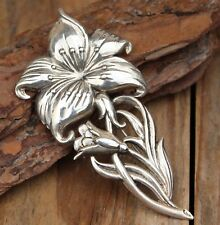 Vintage Statement Brooch Silver Flower Pin Costume Jewellery Retro Jewelry Large