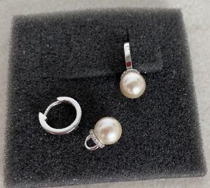 Esprit Ohrringe Mini Creolen mit Anhänger Kunstperle  Zirkonia 925 Silber Top