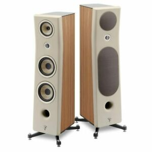 Focal Kanta No3 loudspeakers in Ivory/Walnut finish. Worldwide shipping.