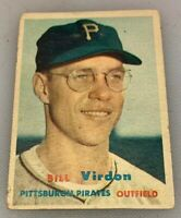 1957 Topps # 110 Bill Virdon Baseball Card Pittsburgh Pirates