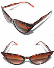 Women's small Cat Eye Brown Tortoise Gold Frame Sunglasses 50's Pin Up Fashion