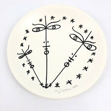 Signed Mid Century Modernist Plate by Jean Cocteau Original Artwork