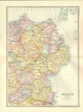 1890 ANTIQUE MAP - IRELAND, SECTION 2, NORTH EAST, ANTRIM, DOWN, TYRONE, CAVAN