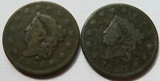 1816 + 1820 Coronet Head Large Cents, Two Early Date Penny 1C coins