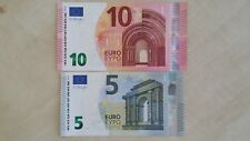 EUROPEAN UNION 10 5 Euro Set Draghi x 2 UNC Banknotes