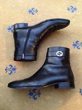 Gucci Mens Shoes Black Leather Chelsea Dealer Boots UK 8 US 9 42 Interlocking GG