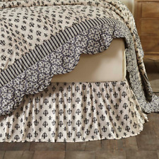 Elysee Fluer de Lis King Bedskirt : French Cottage Black Cream Bed Skirt Ruffle