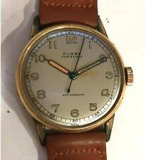 Antique Vintage Flora Swiss Rolled Gold Mens Wrist Watch Running #W436