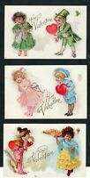 Lot of 3 ~ Valentines~Children with Hearts~America~Ireland~ Spain~Postcards-a473