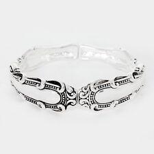 Spoon Stretch Bracelet Vine Design Handle Swirl Metal SILVER Filigree Jewelry