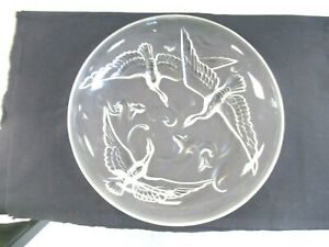 Vintage VERLYS, Gannets Diving For Fish, Frosted on Clear Large Centerpiece Bowl