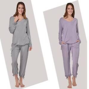 RAIKOU Schlafanzug Damen Lange Nachtwäsche Yoga Suit Pyjama Set Unterwäsche