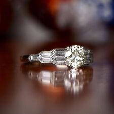 Vinrage Art Deco 1.25Ct Round Real Off White Moissanite Diamond Engagement Ring