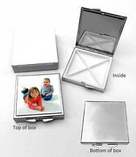 Pill Box Square Chrome Plated, Four compartments, Personalised Gift