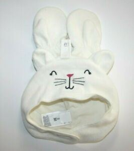 Old Navy Baby Micro Fleece White Cat Hat & Mitten Set Size 6-12 Months NWT