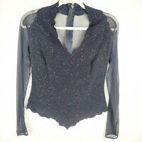 Vintage LILLIE RUBIN Black Sequin Mesh Long Sleeve Top Women's Size Small