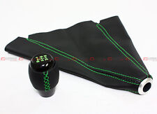 M10 X 1.5 BLK LEATHER SHIFT KNOB W/ GREEN STITCHING+ LEATHER BOOT FOR ACURA