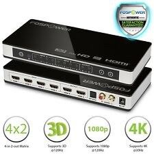 FosPower 4X2 4 In 2 Out 4K UHD 3D ARC Ready HDMI Matrix Selector Switch Splitter