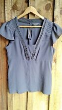 BASQUE 16 top blouse short sleeve loose floaty brown work office boho Plus Size