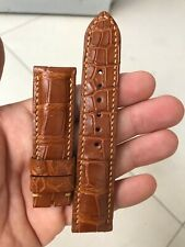 22mm GENUIN Brown  ALLIGATOR CROCODILE  LEATHER WATCH BAND STRAP FOR PAM