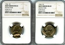 C11843- 1964 MATED PAIR JEFFERSON NICKEL NGC MS62/MS63 - MINT ERROR!