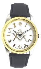 New Masonic Mason Square And Compass Quartz Leather Wrist Watch