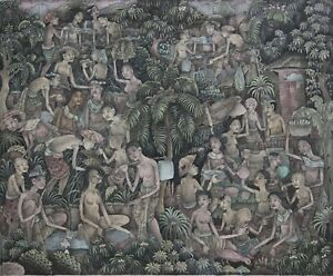 Original Signed 20th C. Indonesian/Balinese School Watercolor/Gouache Painting