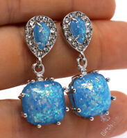 Large 2CT Blue Opal Dangle Earrings Women Wedding Jewelry Gift 925 Silver
