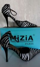 MiZiA PARIS Schnabelschuh Damenschuhe High Heels Schwarz/Silber Zebra Gr.37 NEU