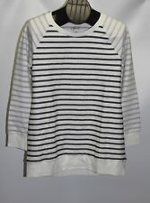 New Style&co. Women's PM White Black Striped Long Sleeve Crewneck Sweatshirt