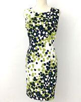 RONNI NICOLE Women's 14 Petite NWT Green, White, Black Sleeveless Sheath Dress