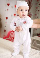 Baby Boy Christening Outfit Baptism Romper Cotton White Handmade Bodysuit Boy