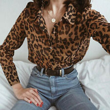Women Daily V-Neck Leopard print Top T Shirt Ladies Loose Long Sleeve Top Blouse