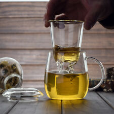 500ml 3-in-1 Glass Tea Cup Set with Lid and Infuser Heat-resistant Glass Teapot
