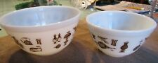 2  Pyrex Nesting Bowls White Milk Glass And Brown Early American Pattern