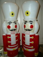 "2 Tall Used 40"" Vtg 1987 Union Nut Cracker Soldier Christmas Blow Mold Light Up"