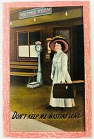 Vintage Women with Suitcase at Train Station Postcard Don't Keep Me Waiting