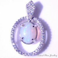 Stylish Pendant Australian White Solid Opal 925 Sterling Silver Platinum Plated